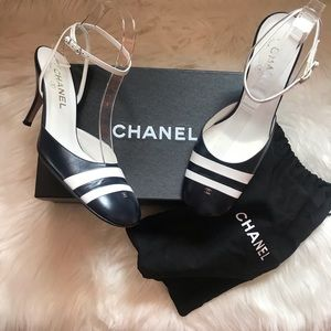 Authentic CHANEL CC Logo Navy Slingback Shoes